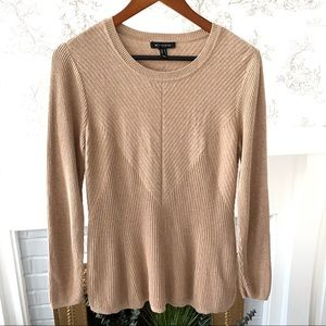 H by Halston Tan Ribbed Long Sleeve Sweater